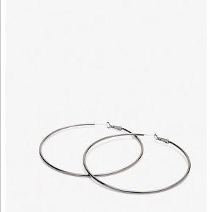 Express Large Hematite Hoop Earrings